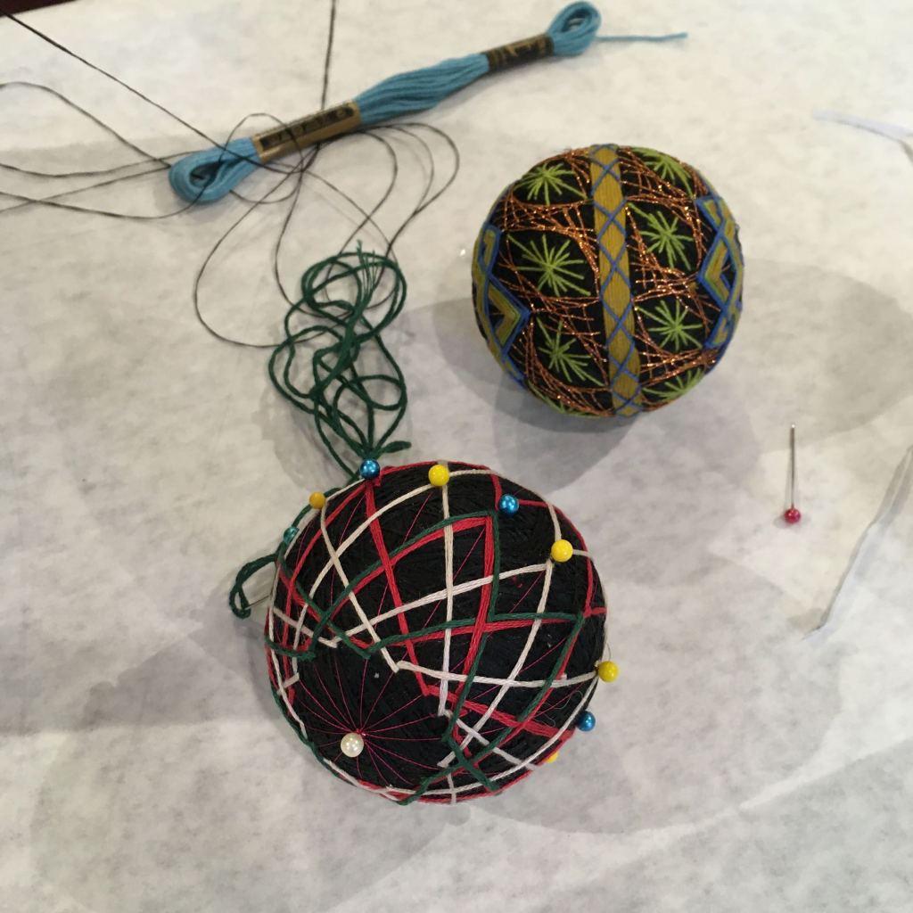 two temari balls